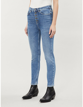 The Kooples Skinny high-rise stretch-denim jeans