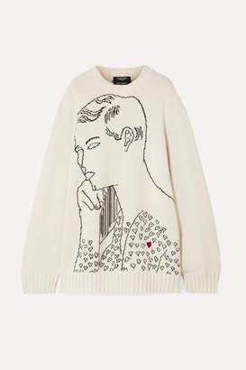 Calvin Klein Andy Warhol Foundation Oversized Intarsia Wool Sweater - Cream