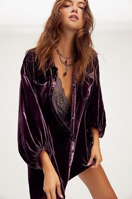Free People Lux Velvet Shirt Dress