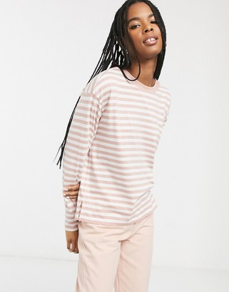 Monki organic cotton striped long sleeve top in pink and white
