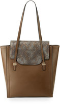 Neiman Marcus Mag Faux-Leather Tote Bag, Taupe
