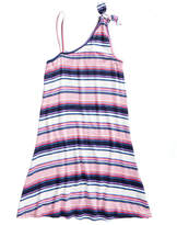Love, Fire Striped One-Shoulder Swing Dress, Big Girls