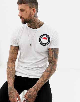 Religion muscle fit t-shirt with logo embroidery-White