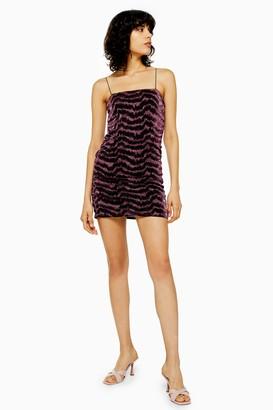 Topshop Womens Pink Glitter Metallic Thread Mini Dress - Pink