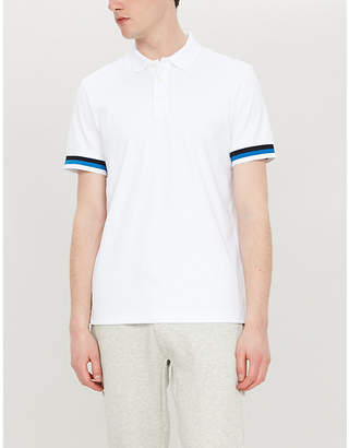 BOSS Branded striped-short-sleeved cotton-jersey polo shirt