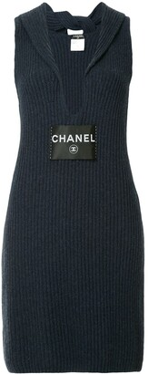 Chanel Pre Owned ribbed v-neck dress