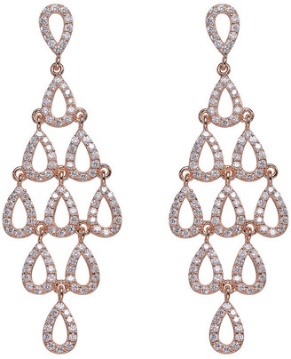 Genevive 14K Rose Gold Over Silver Cz Chandelier Earrings