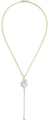 NATASHA SCHWEITZER 9kt yellow gold Keshi pearl lariat necklace