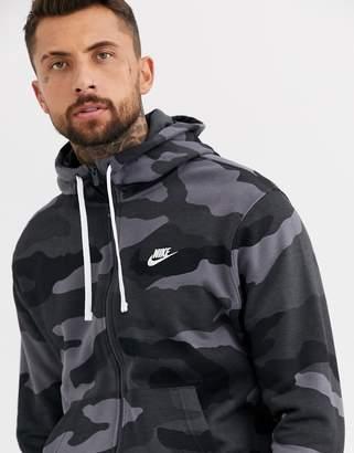 Nike Club zip-through hoodie in camo print-Green