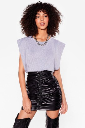 Nasty Gal Womens Such a Ruche Faux Leather Mini Skirt - Black - L