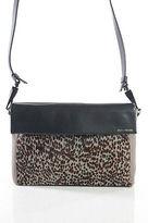 Pour La Victoire Brown Black Leather Pony Hair Silver Tone Clutch Handbag