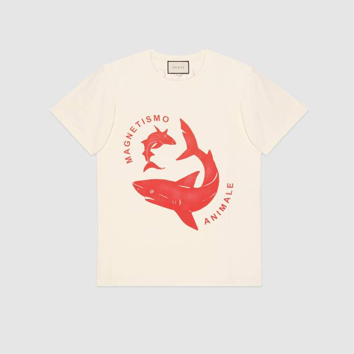 Gucci Oversize T-shirt with sharks print