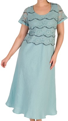 Chesca Linen Flared Floral Lace Dress, Aqua
