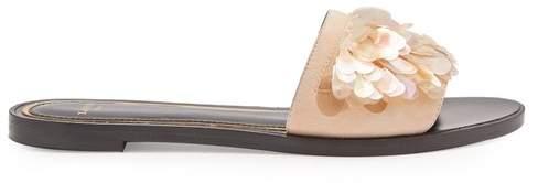 Lanvin Sequin-embellished suede slides
