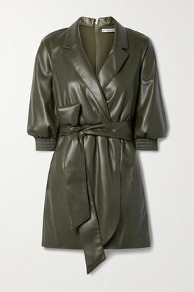 Alice + Olivia Maureen Wrap-effect Belted Vegan Leather Mini Dress - Army green