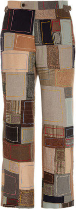 BODE Embroidered Patchwork Wool Straight-Leg Pants