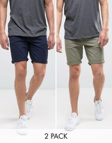 Jack & Jones Intellience Chino Shorts In Regular Fit Multipack Save