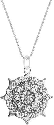 Cartergore Medium Silver Classic Mandala Pendant Necklace