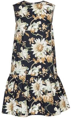 Oscar de la Renta Floral stretch-poplin minidress