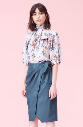 Rebecca Taylor Vegan Leather Wrap Skirt