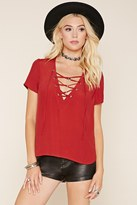 Forever 21 FOREVER 21+ Crinkled Lace-Up Top