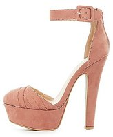 Charlotte Russe Faux Suede Platform Two-Piece Pumps