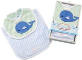 Baby Aspen Bib & Burp Set - Cotton - Deep Sea - 2 ct