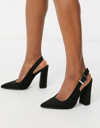 ASOS DESIGN Planet slingback high block heels in black
