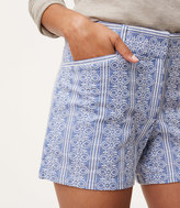 LOFT Embroidered Stripe Riviera Shorts with 4 Inch Inseam