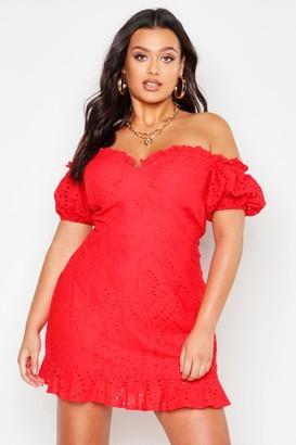 boohoo Plus Broderie Bodice Ruffle Hem Dress