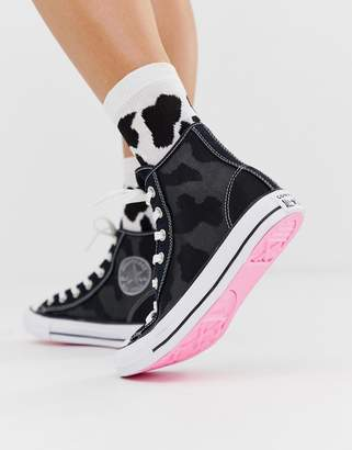 Converse chuck taylor all star hi black mesh sneakers