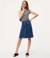 LOFT Petite Denim Tie Waist Button Skirt