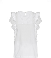 No.21 NO. 21 Ruffle-trimmed lace cotton-jersey top