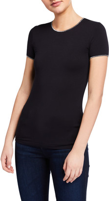 Majestic Filatures Soft Touch Short-Sleeve Metallic Trim Tee