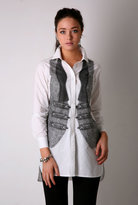 One Grey Day White Shirt with Waistcoat Print