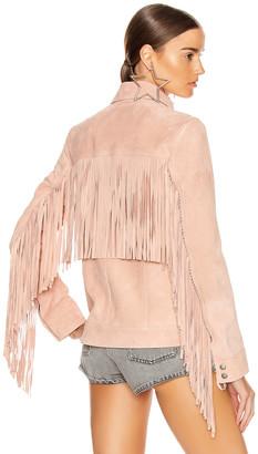Saint Laurent Fringe Jacket in Rose Pale | FWRD