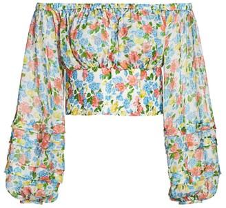 AMUR Alora Floral Cropped Top