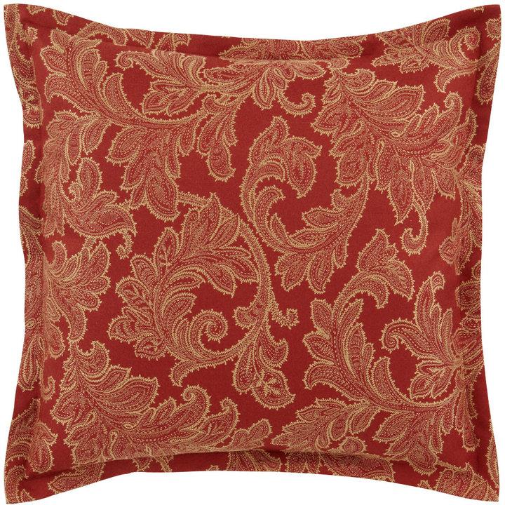 Jane Wilner Designs Red & Gold Leaf-Patterned European Sham