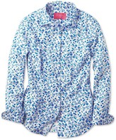 Charles Tyrwhitt Women's semi-fitted floral print blue shirt