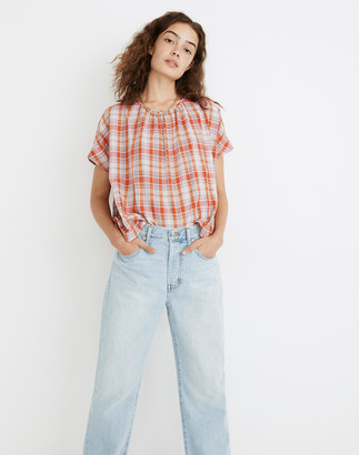 Madewell Plaid Shirred-Neck Boxy Top