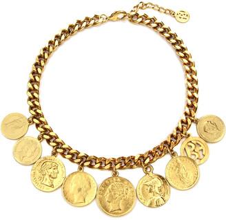 Ben Amun Chain-Link Coin Drop Necklace