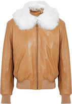 Chloé Shearling-trimmed leather bomber jacket
