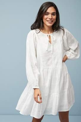 Next Womens White Tiered Embroidered Kaftan Dress - White