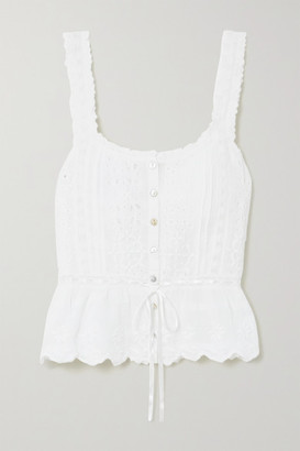 LoveShackFancy Luanne Crochet-trimmed Embroidered Cotton-voile Top - White