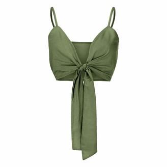 Ni Ka Shirts Women Summer Solid V-Neck Sleeveless Bow Bandage Backless Strap Camis Crop Top Green