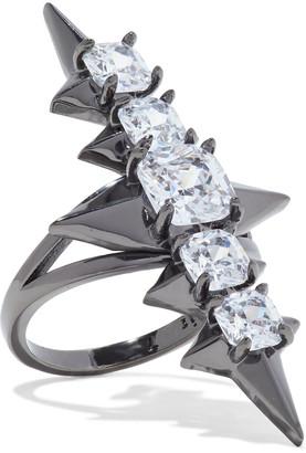 Noir Gunmetal-tone Crystal Ring