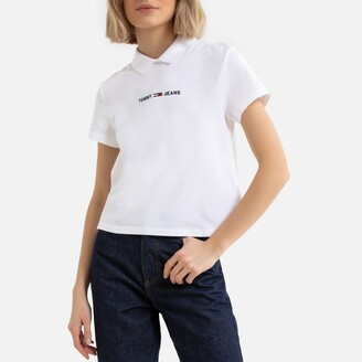 Tommy Jeans Cotton Polo Shirt with Back Buttons and Embroidered Logo