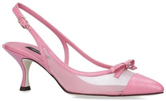 Dolce & Gabbana Leather and Mesh Lori Slingback Heels 60