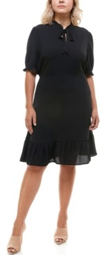 Monteau Trendy Plus Size Tie-Neck Dress