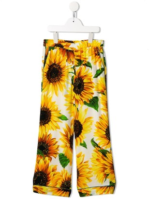 Dolce & Gabbana Kids Sunflower Print Trousers